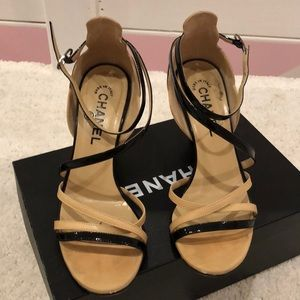CHANEL Shoes - Chanel black tan patent leather strappy heels